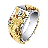 shiYsRL Exquisite Jewelry Ring Love Rings Men Women Shiny Rhinestone Ring Fashion Dragon Shape Band Jewelry Party Wedding Band Best Gifts for Love with Valentine's Day - Golden US 10