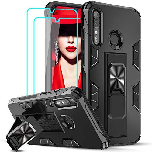 LeYi Hülle für Huawei P Smart 2019 / Honor 10 Lite mit [2 Stück] Panzerglas,Armor Stoßfest Handyhülle Slim Silikon Magnet Schutzhülle TPU Bumper Cover,Eingebaut Ständer Hülle für P Smart 2019 Schwarz