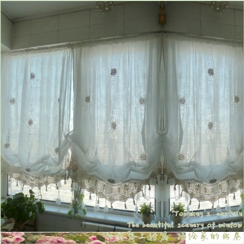 FADFAY Pastoral Style Adjustable Balloon Curtain Living Room Shade Curtain for Living Room Set,Off-White,1 Panel