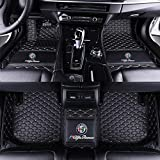 Car Floor Mats with Trunk Mats Fit for Alfa Romeo Giulia Stelvio 2016-2021 All Weather Leather Car Mat Non-Slip Fully Surrounded Waterproof (black/white)