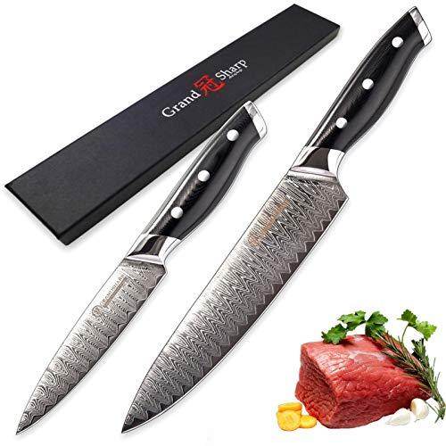 2 PCS CHEF CHEF SET JAPONIO DAMASCUS CUCHILLOS DE CUCHILLA VG10 Japón Damasco Acero Herramientas de cocina de lujo Diseño de la casa Nuevo Cuchillo de estilo para picar verduras juego de cuchillos de