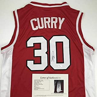 Autographed Signed Memorabilia Stephen Steph Curry Davidson Red College Jersey - JSA Authentic