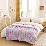 NEWCOSPLAY Super Soft Faux Fur Throw Blanket Premium Sherpa Backing Warm and Cozy Throw Decorative for Bedroom Sofa Floor (Purple Rainbow, Throw(50'x60'))