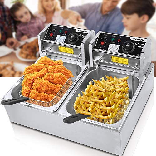 Commercial Deep Fryer for the Home with Dual Basket 3600W 12L Capacity Tank Stainless Steel Electric Countertop Deep Fryer Restaurant Family Food Cooking Turkey