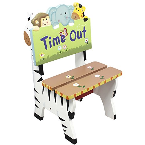 Teamson Design Corp Fantasy Fields - Sunny Safari Animals Thematic Kids Time Out Chair | Imagination Inspiring Hand Painted Details Non-Toxic, Lead Free Water-based Paint