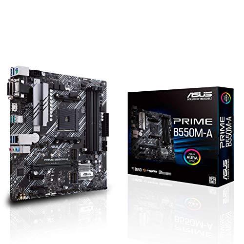 ASUS Prime B550M-A Gaming Mainboard Sockel AM4 (micro ATX, Ryzen, PCIe 4.0, 2x M.2, 1Gbit/s-Ethernet, SATA 6Gbit/s, USB 3.2 Gen 2 Typ-A, Unterstützung für Aura Sync RGB Header)