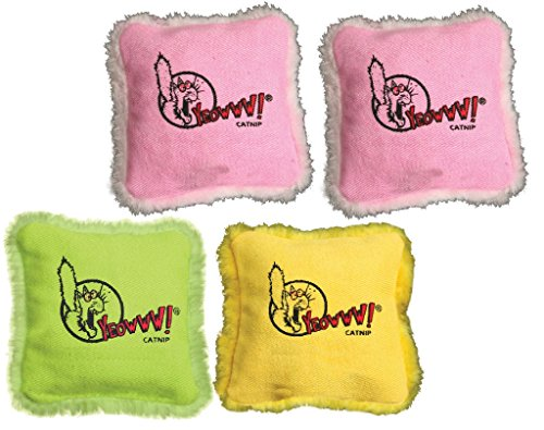 Yeowww! (4 Pack) 100% Organic Catnip Pillows (Assorted Colors)
