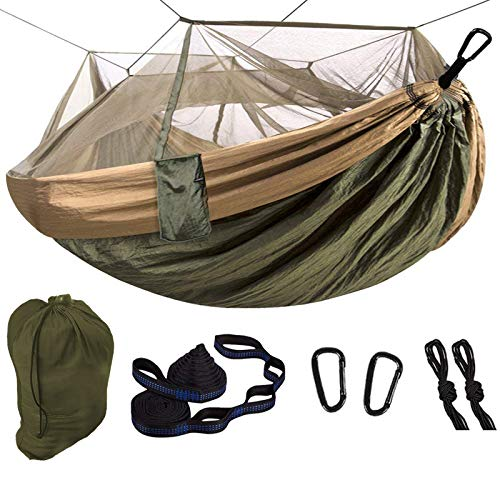 LOVE STORY Camping Hammock with Mosquito Net Portable & Lightweight Tree Straps Easy to Hang,Indoor Outdoor Olive Single,2 in 1 Multifunction