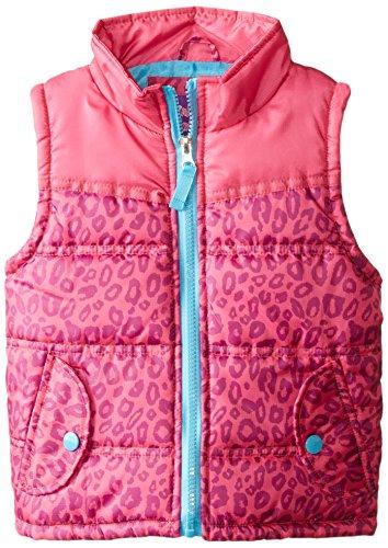 Pink Platinum Girls' Puffer Vest In Cheetah Print