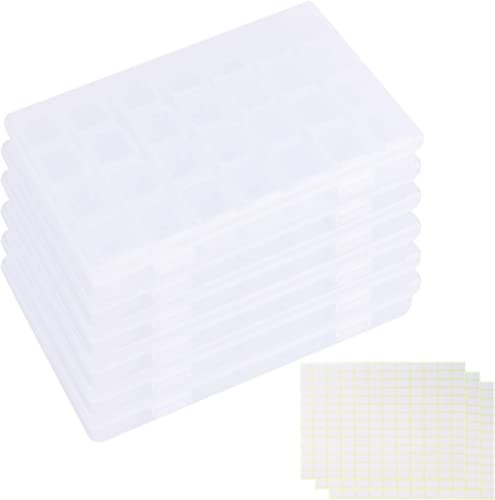 Tosnail 6 Pack 28 Grids Plastic Craft Organizer Case Diamond Storage Box with 588 Pieces Stickers - Great for Sewing,...