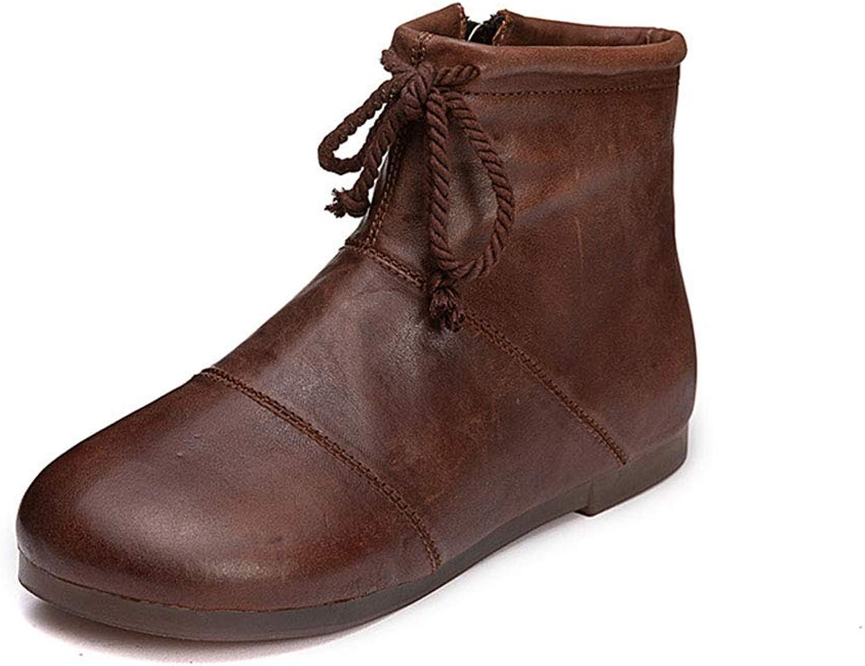 Booslipss, Booslipss, Booslipss, Lace -up Flat Zipper Retro Combat Boot Woherrar Retro läder Fall  Winter Ankle Boot s Martin Boot s (Färg  A, Storlek  36)  gör rabattaktiviteter
