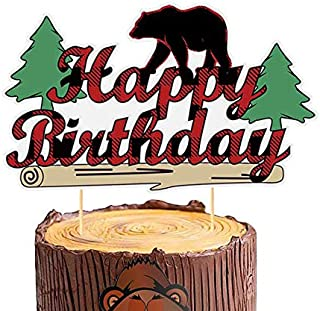 Palksky Glitter Lumberjack Happy Birthday Cake Topper/Buffalo Plaid Woodland Cake Topper for First Birthday Baby Shower Timber Camper Party Decoration Supplies