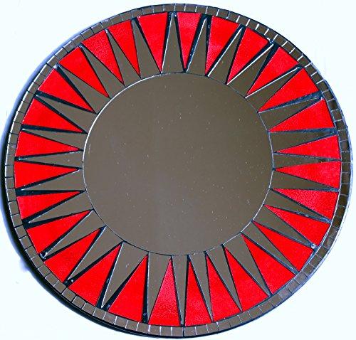 Asia Design #40 Miroir décoratif Rond en mosaïque, Rouge, 50 cm