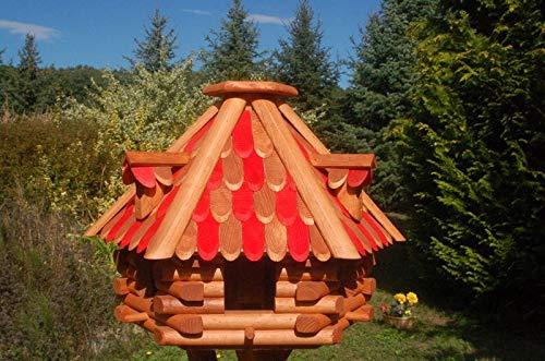 Deko-Shop-Hannusch Futterhaus/Vogelhaus mit Holzschindeln und Gauben Verschiedene Dachfarben und Solarbeleuchtung wählbar, V13, Farbe:V13 braun-rot ohne Solar