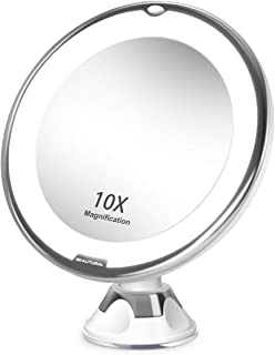 BEAUTURAL 10X Magnifying Lighted Vanity Makeup Mirror with Natural White LED, 360 Degree Swivel Rotation and Locking Suction