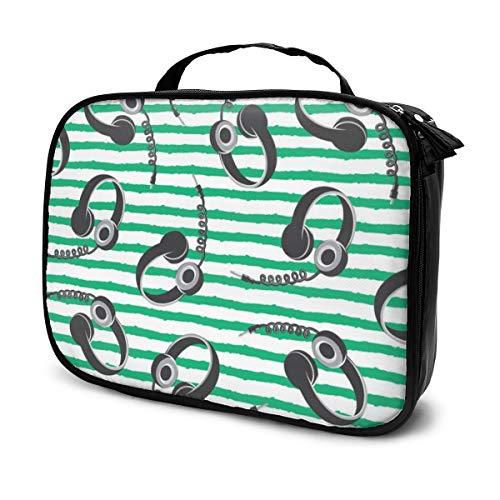 Multi-Purpose Cosmetic Train Case Lazy Zipper Clutch Bag Large Capacity Headphones on Dark Green Stripes