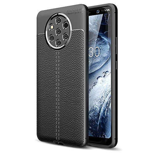 NALIA Leder-Erscheinungsbild Hülle kompatibel mit Nokia 9 PureView, Ultra-Slim Handyhülle Silikon Hülle Cover, Dünne Strukturiert Phone Schutzhülle, Stoßfeste Etui Handy-Tasche Backcover Bumper - Schwarz