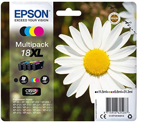 Epson Orginal 18XL Tinte Gänseblümchen, XP-305 XP-402 XP-215 XP-312 XP-315 XP-412 XP-415 XP-225 XP-322 XP-325 XP-422 XP-425, Normalverpackung, XL, (Multipack, 4-farbig)