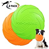 Frisbee Giocattolo, 2 Pezzo Frisbee per Cani, Frisbee di Gomma, Addestramento Facile da Trasportare Disc Dog, per Cani Giochi Outdoor Dog Formazione Fetch Toy(Verde, Arancione)