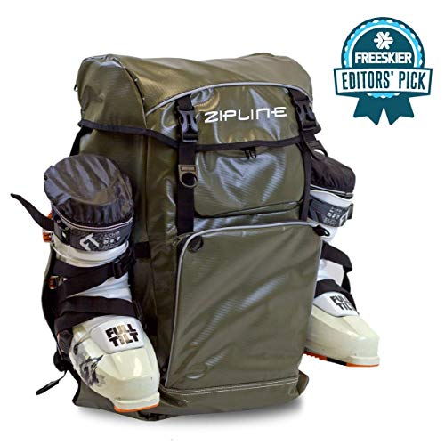 Zipline World Cup Ski Boot Bag Backpack – Waterproof Skiing and Snowboarding Travel Luggage – Stores Gear Including Jacket, Helmet, Goggles, Gloves & Accessories - 2019 Model (Army Green)