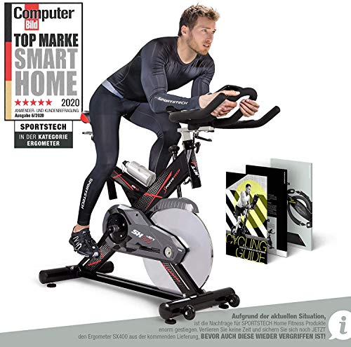 Sportstech Profi Indoor Cycle SX400 | Deutsches Qualitätsunternehmen | mit Video Events & Multiplayer App | 22KG Schwungrad | Pulsgurt kompatibel | Speedbike Ergometer mit leisem Riemenantrieb