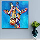 ganlanshu Rahmenlose Malerei Abstrakte Tierölmalerei Leinwand Messer Acryl Bunte Giraffe Malerei...