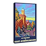 Póster clásico del castillo medieval de Chateau Haut Koenigsbourg vintage de viaje Francia retro francés de la pared del castillo medieval, impresión de cuadro cuadro cuadro cuadro: 60 x 90 cm