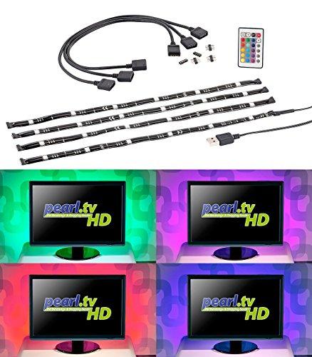 Lunartec LED Lichtleiste USB: TV-Hintergrundbeleuchtung mit 4 RGB-Leisten für 61-111 cm, USB (LED TV)