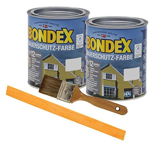 Bondex Dauerschutzfarbe deckend 2 x 0,75l Wetterschutzfarbe Holzschutzfarbe Holzfarbe bis zu 12 Jahre wetterbeständig für Holz und Zink Außen inkl. Pinsel und Rührstab (silbergrau)