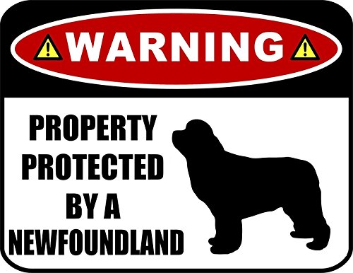 PCSCP Warning Property Protected by a Newfoundland (SILHOUETTE) 11.5 inch x 9 inch Laminated Dog Sign