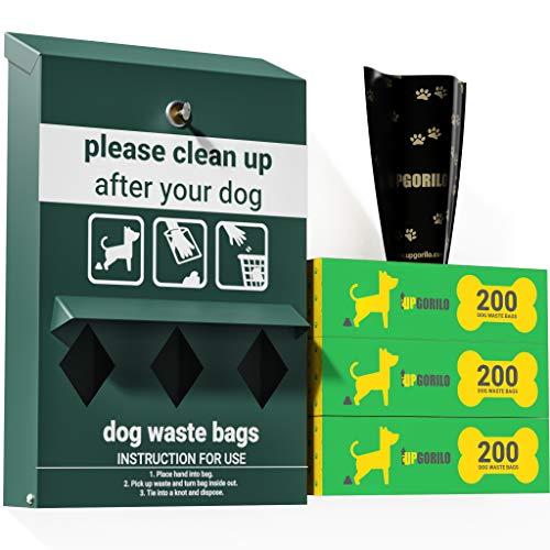 UPGORILO Dog Waste Station Bag Dispenser - Includes 600 Dog Poop Bags - Original Glow in the Dark Dog Poop Station Outdoor, Triple Storage Pet Waste Station with Lock and Rain Guard