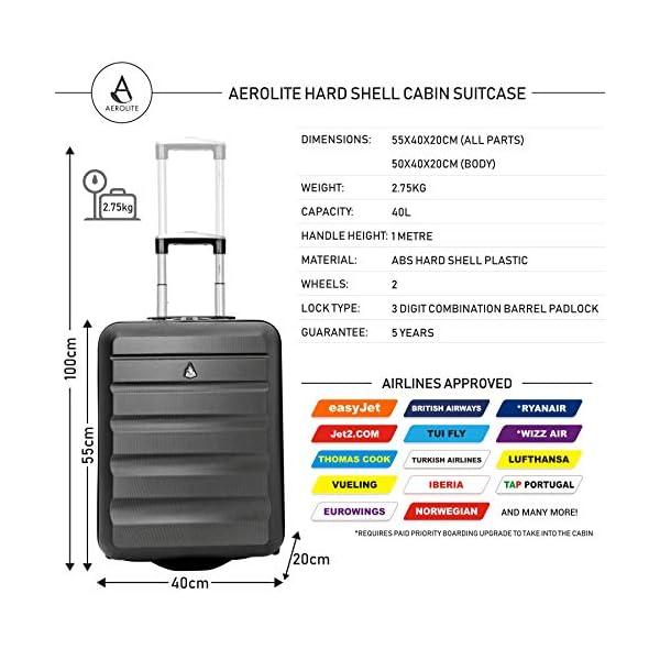 Aerolite 55x40x20 Tamaño Máximo de Ryanair y Vueling ABS Trolley Maleta Equipaje de Mano Cabina Ligera con 2 Ruedas…