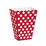 Lotto di 8 scatole per popcorn rosse a pois bianchi Taglia Unica