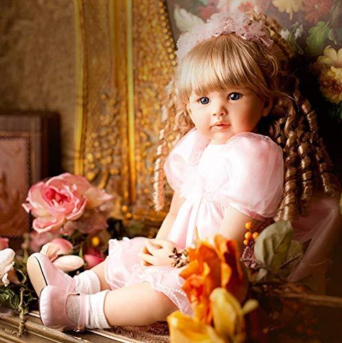 Reborn Baby Dolls 60Cm Reborn Niña Pequeña Pelo Rubio Rizado Princesa En Falda Rosa Muñeca Coleccionable Bebé Realista