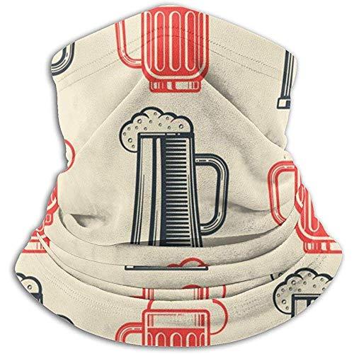 Kenice Neck Warmer Biergläser Rot Schwarz Neck Gaiter Tube,Ear Warmer Stirnband&Gesichtsmaske Ultimative Wärmespeicherung,Vielseitigkeit&Stil