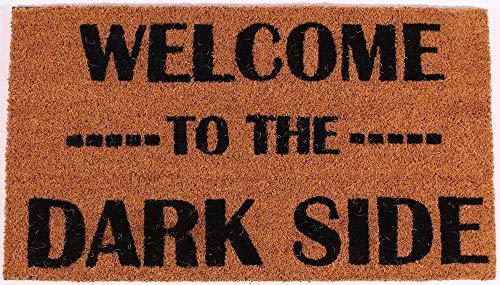 La Finesse DM237 Decorativo Coir Alfombra de Puerta de Entrada, Welcome To The Dark Side, 70 cm x 40 cm