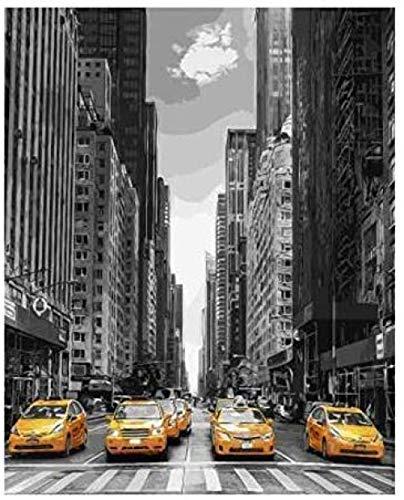 Paint by Numbers Taxis amarillos de Nueva York - Para adultos DIY Adultos 40X50Cm-No Frame