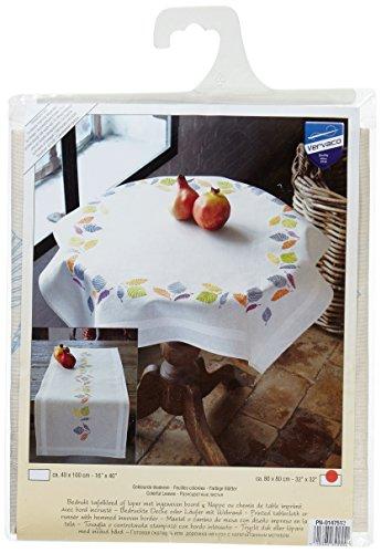 Vervaco gekleurde bladeren borduurverpakking/tafelkleed in voorgedrukte/voorgetekende kruissteek, katoen, meerkleurig, 80 x 80 x 0,3 cm