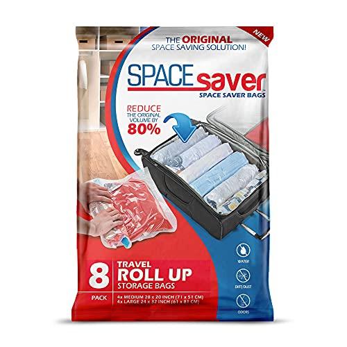 SPACESAVER Space Saver - Juego de 8 Bolsas compresoras para Ropa (4 Grandes + 4 Medianas) (Travel 8 Pack)