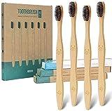 12 cepillos de dientes ecológicos de carbón de bambú natural   Cepillo de dientes de cerdas suaves biodegradables (paquete de 12)