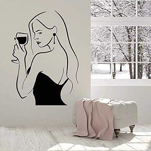 Adhesivo De Pared Negro Gil Con Botella De Vino, Adhesivo De Vinilo Para Pared, Letrero De Barra De Alcohol, Bebida Para Damas, Calcomanía Para Ventana De Copa De Vino, 78X57 Cm