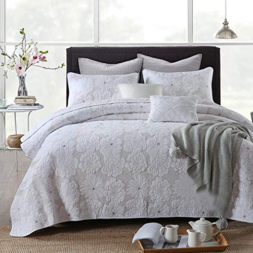 Tagesdecke King Size 3-teiliges Set aus gesteppter Baumwollbettwäsche mit amerikanischer Stickerei und einfarbiger Bettdecke (230 × 250 cm / 250 × 270 cm)-H-M