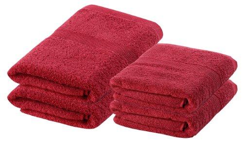 Wilson Gabor Handtuchset: Handtuch-Set 2X 50x100 cm & 2X 140x70 cm, rot (Duschtücher)