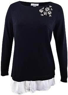 Womens Plus Layered Rhinestone Pullover Sweater