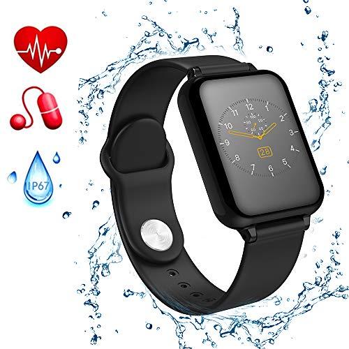 Gelrova Fitness Armband IP67 wasserdicht Aktivitäts Tracker mit Pulsmesser und Blutdruckmessgerät Schrittzähler Schlafmonitor Zähler Anruf SMS SNS Erinnerung für Kinder Frauen Männer