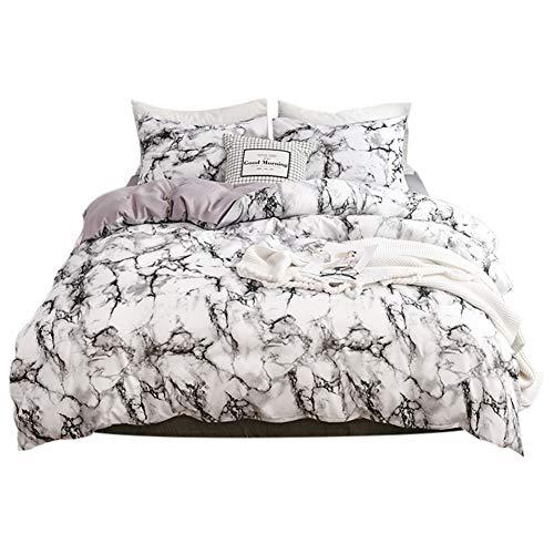 Conjuntos de ropa de cama con estampado de mármol, 1 * Funda de edredón + 2 * Funda de almohada, 3Pcs Funda de edredón de poliéster Funda de almohada Conjuntos de funda nórdica(Blanco)