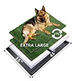 MEEXPAWS Dog Grass Pee Pads for Dogs with Tray   Extra Large 45×35 in   2× Dog Artificial Grass Pads Replacement  Rapid Drainage   2 Training Pads   Indoor Dog Litter Box