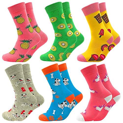 Facefuture Süß Socken Crew Lustige Phantasie Bunte Strümpfe Glücklich Baumwolle Sock 6 Paar(604)