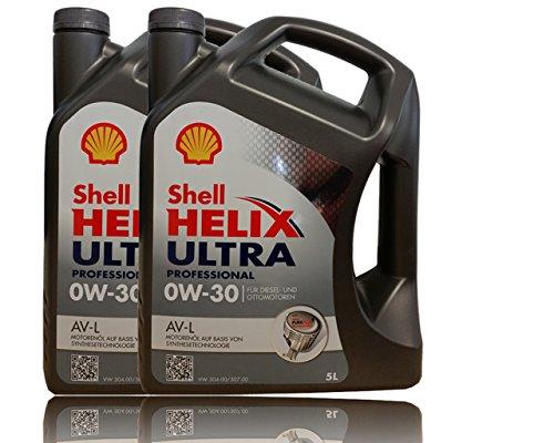 Shell 0W de 30Helix Ultra Professional AV de l de 2x 5l 0W30antifricción