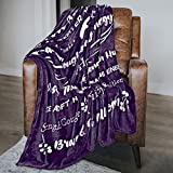 Macevia Inspirational Fleece Healing Thoughts Blanket - Super Soft Sympathy Prayer Throw Blanket Get Well Soon Gifts for Women, Men or Breast Cancer Patient 50×60 Inch (Purple)